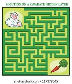 Rabbit's Maze Game (help the hungry rabbit to find his carrot - Maze puzzle with solution)