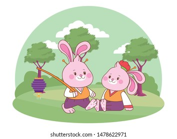 Rabbits in mid autumn festival with lanterns cartoons in the forest, landscape background vector illustration graphic design.
