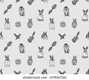 Rabbits pets animal cabbage and carrots grayscale lines seamless pattern