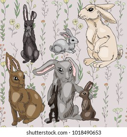 Rabbits with seamles pattern