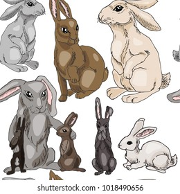 Rabbits seamles pattern