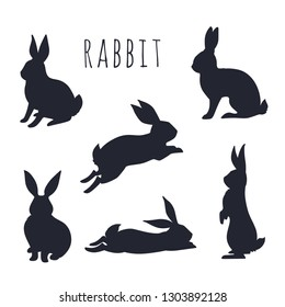 Rabbits silhouette isolated on white. Vector illustration.