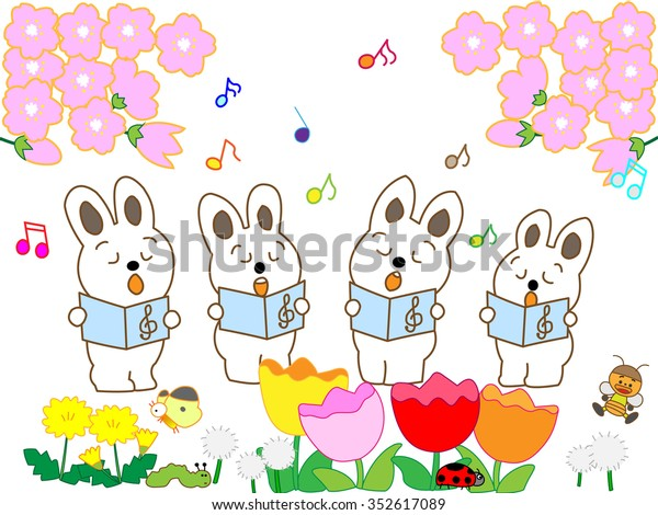 Rabbits Singing Spring Flower Stock Vector Royalty Free 352617089