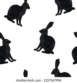 rabbits sketch ink seamless animal vector pattern