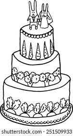 Rabbits Wedding Cake. Hand-drawn illustration.