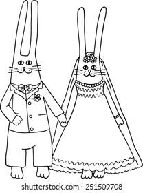 The Rabbits Wedding. Hand drawn illustration.