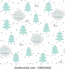 rabbits wild life forest with animals cartoon style pastel mint turquoise seasonal winter seamless pattern on white background with wishes in English