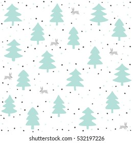 rabbits wild life forest with animals cartoon style pastel mint turquoise seasonal winter seamless pattern on white background