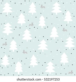 rabbits wild life forest with animals cartoon style pastel mint turquoise seasonal winter seamless pattern on mint background