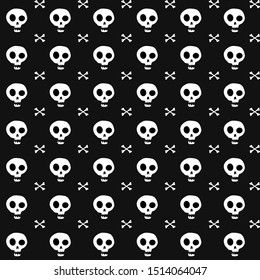Rabid rubbed skull on a black background. Wallpaper. Gift wrapper.