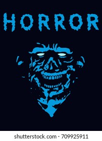 Rabid zombie in blue color. Vector illustration. The genre of horror.