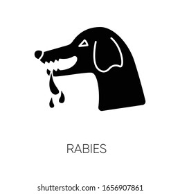 Rabies black glyph icon. Dangerous viral disease, contagious central nervous system infection silhouette symbol on white space. Rabid dog, aggressive animal vector isolated illustration
