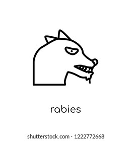 Rabies icon. Trendy modern flat linear vector Rabies icon on white background from thin line Diseases collection, editable outline stroke vector illustration