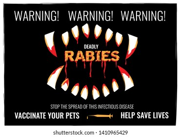 Rabies warning poster and vaccinate your pets concept in dark grunge art style. Editable Clip Art,