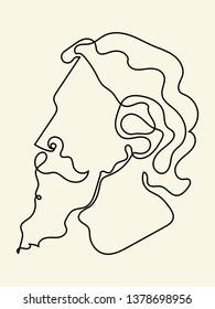 rabindranath tagore line art illustration vector image