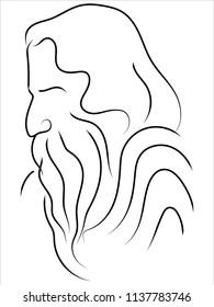 rabindranath tagore line art vector image