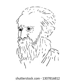 Rabindranath Tagore who is the national anthem writer of India, Bangladesh & Srilanka got nobel prize in 1913 hand drawn line art vector portrait illustration.