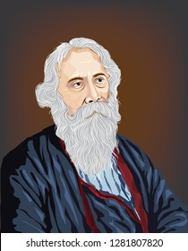 """Rabindranath Tagore(1861 - 1941). Author of Gitanjali and its """"profoundly sensitive, fresh and beautiful verse"""", he became in 1913 the first non-European to win the Nobel Prize in Literature."""