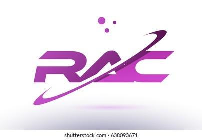 rac r a c  alphabet letter logo combination purple pink creative text dots company vector icon design template