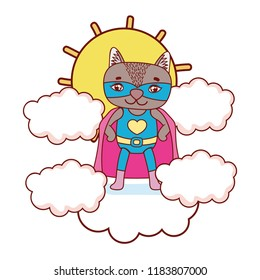 raccon with costume mask and cape in the clouds with sun
