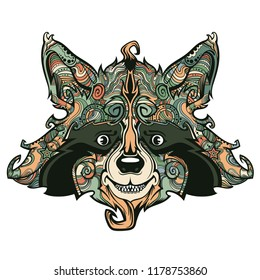 Raccon face line art, vector cartoon creative illustration isolated on background, funny and cute animal face