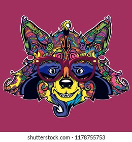 Raccon face line art, vector cartoon creative illustration isolated on background, funny and cute animal face with eyeglasses, ornamental face