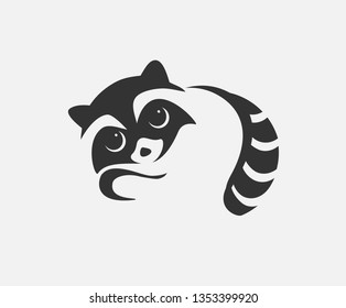 Raccon icon vector illustration. Stlylized mascot design.