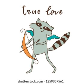 raccoon angel Cupid with bow and arrow with a smile on his face and blue wings, signature-true love