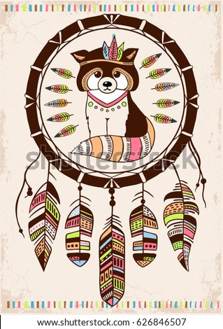 Raccoon Aztec Style Hand Drawn Dream Catcher Background Native American Poster Boho