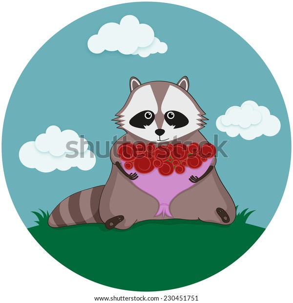 Raccoon and Beautiful bouquet of roses.