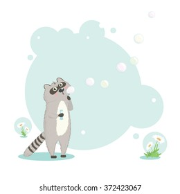 Raccoon blowing bubbles. Vector illustration.