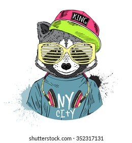 raccoon boy dressed up in cool hip hop style with headphones, hand drawn graphic, hipster animal portrait