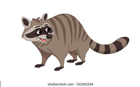 Raccoon with Brown Stripes - Cartoon Vector Image