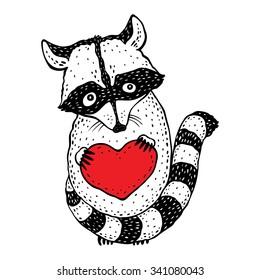 Raccoon carrying a heart.  Cartoon Hand drawn illustration.