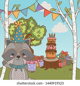 Raccoon cartoon with happy birthday icon design