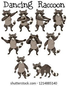 Raccoon character dance position illustration