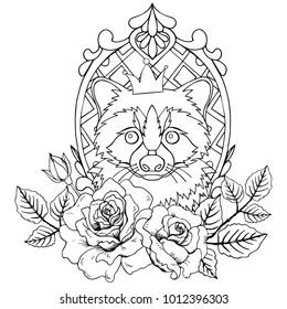 Raccoon with a crown on his head in a beautiful frame decorated with roses. Black and white vector illustration. Image for anti stress coloring book pages for adult.