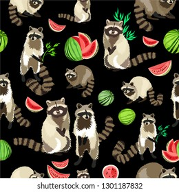 Raccoon cute fluffy beast. Forest animal pattern