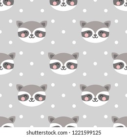 raccoon cute seamless pattern, cartoon background, vector illustration