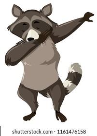 A raccoon dap on white background illustration