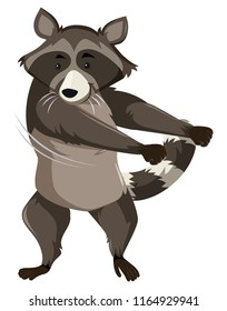 A raccoon doing floss dance illustration