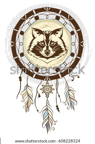 Raccoon Dream Catcher Background Native American Stock Vector Impressive Animal Dream Catchers