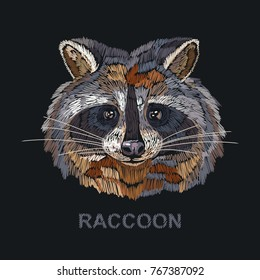 Raccoon embroidery. Fashion template for clothes, textiles, t-shirt design. Classical embroidery portrait of funny raccoon