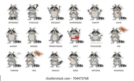 Raccoon emotions set on white background. Funny cartoon emoji.