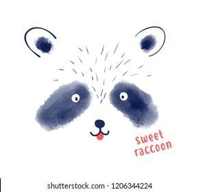 Raccoon hand drawing illustration vector.