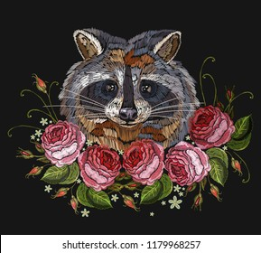 Raccoon head and roses embroidery art. Fashion template for clothes, textiles, t-shirt design. Classical embroidery portrait of funny raccoon and pink flowers roses