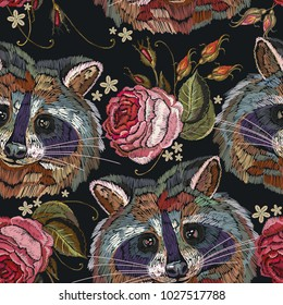 Raccoon head and roses embroidery seamless pattern. Fashion template for clothes, textiles, t-shirt design. Classical embroidery portrait of funny raccoon and roses pattern