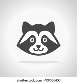 Raccoon icon. Raccoon cartoon character
