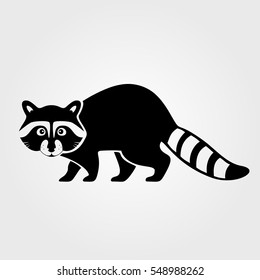Raccoon icon isolated on white background.