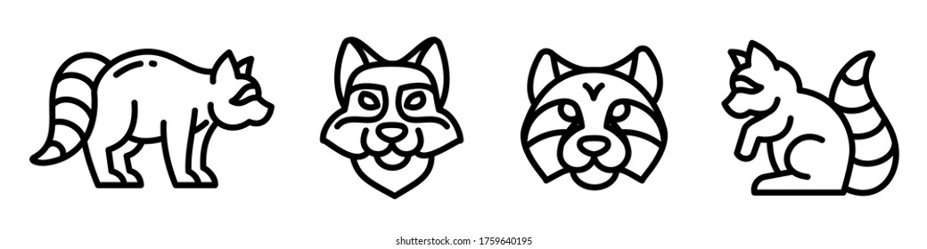 Raccoon icon set. 4 outline icons, vector editable stroke pictogram for web design. Walking raccoon, standing, sitting, simple profile and face of a raccoons, isolated on white background